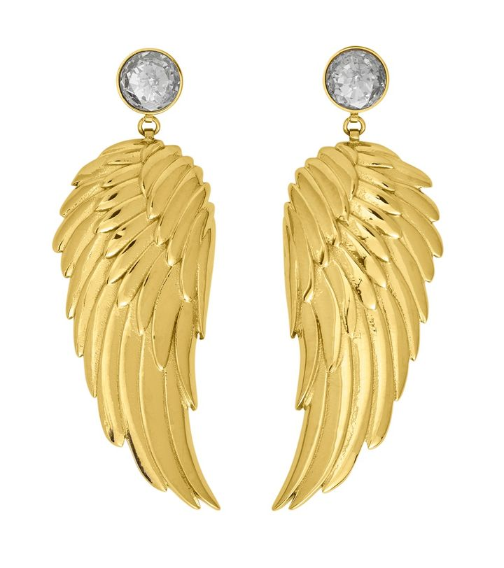 Angel Earrings Large CZ Gold