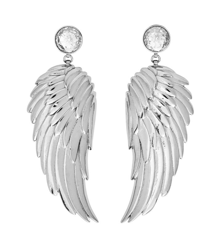 Angel Earrings Large CZ Steel