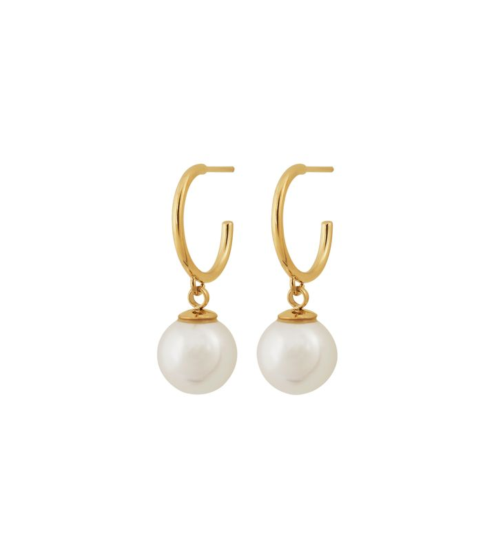 Atom Earrings Pearl White Gold