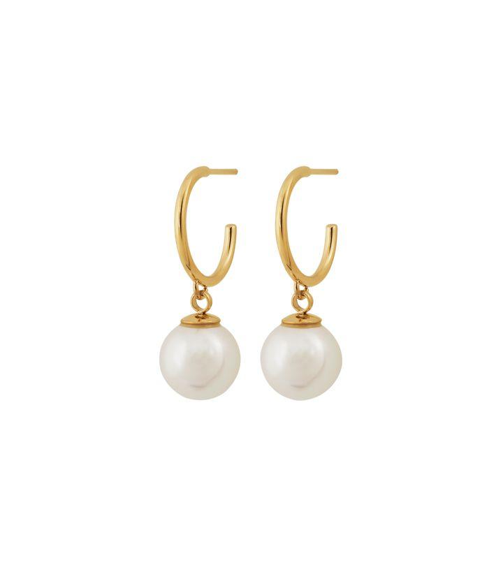 Atom Earrings Pearl White Gold