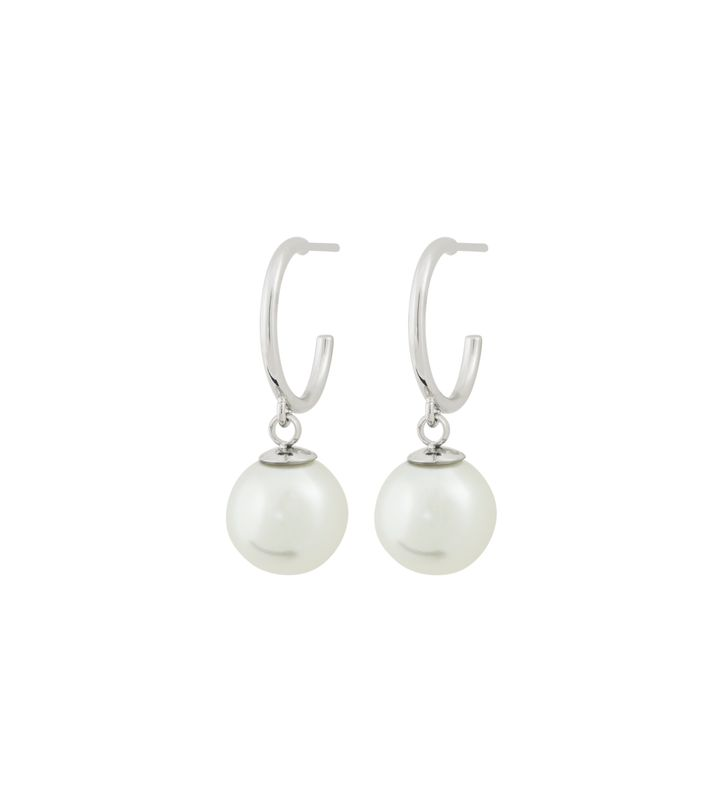 Atom Earrings Pearl White Steel