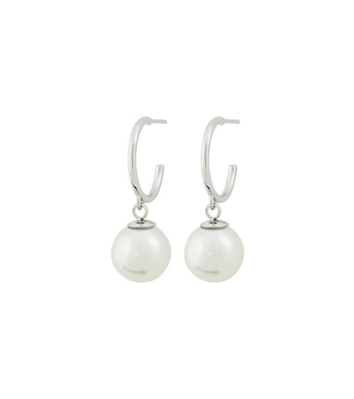 Atom Earrings Pearl White Steel