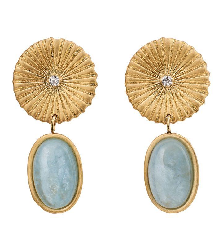 Crinkle Aquamarine Earrings Matt Gold