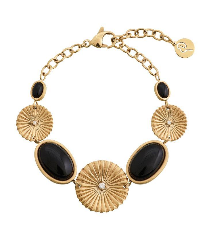 Crinkle Onyx Bracelet Matt Gold