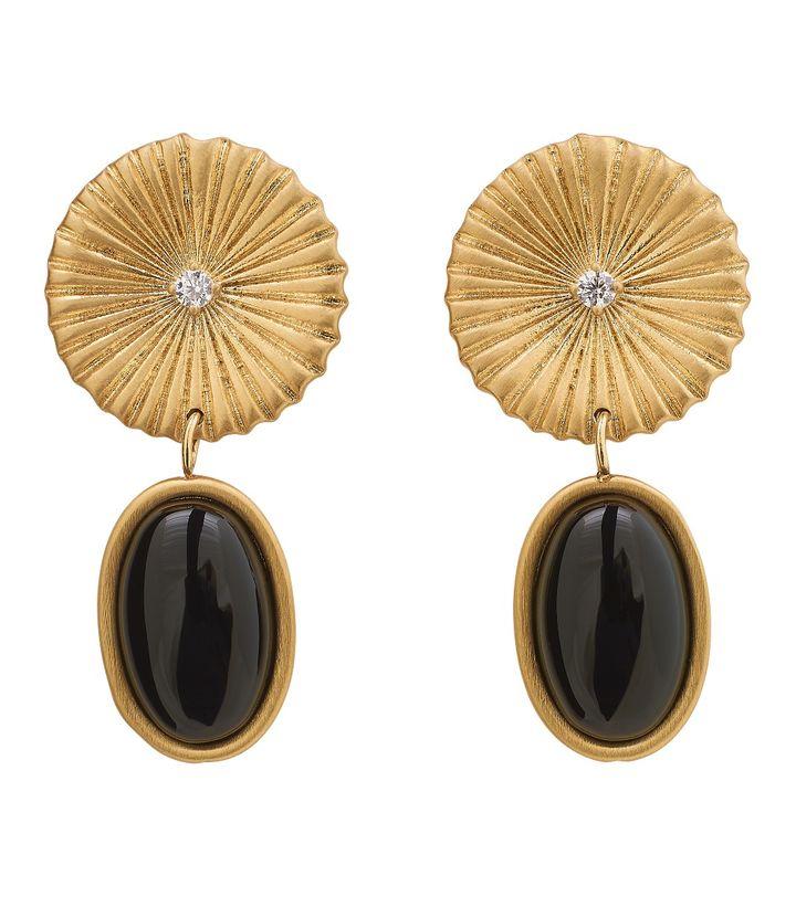 Crinkle Onyx Earrings Matt Gold