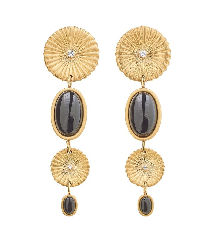 Crinkle Onyx Multi Earrings Matt Gold