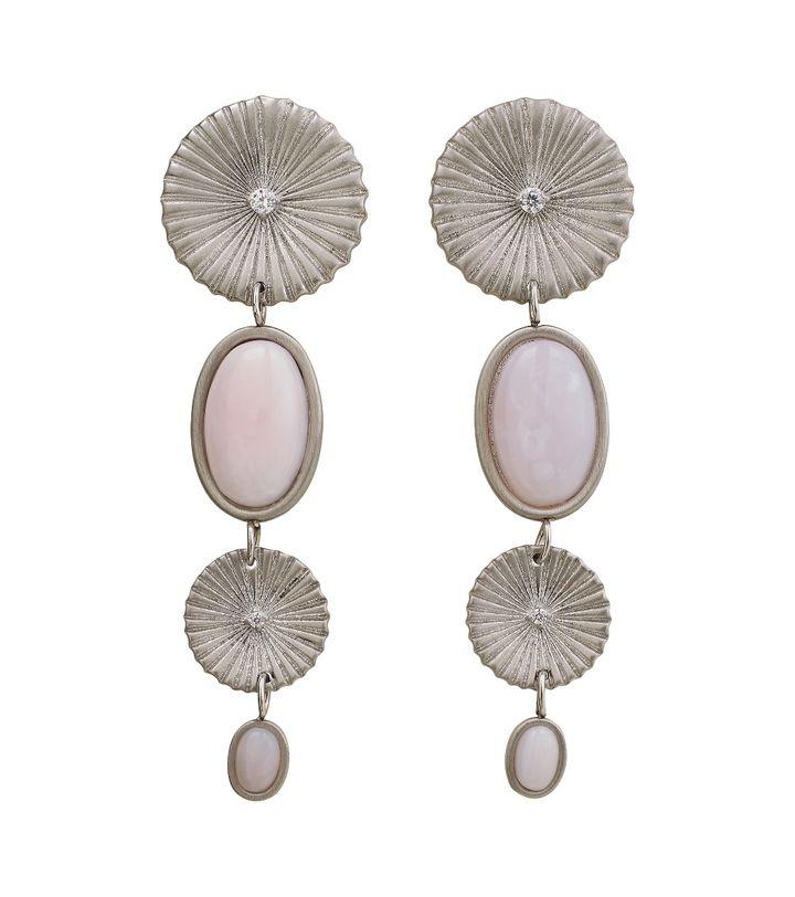 Crinkle Opal Multi Earrings Matt Steel