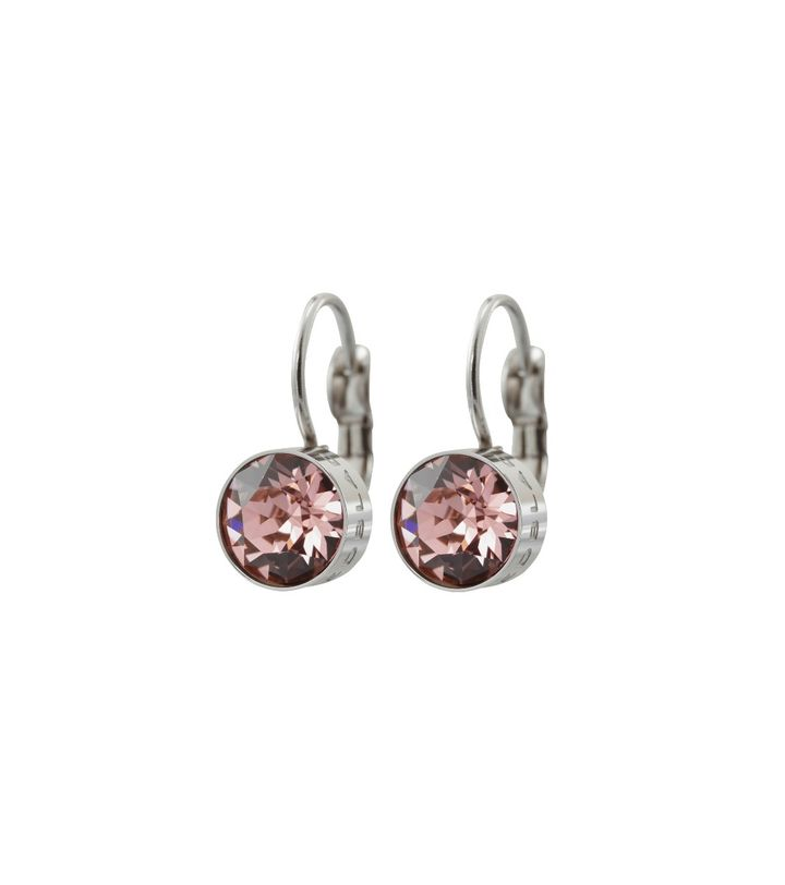 Diana Earrings Bubble Gum Crystal Steel
