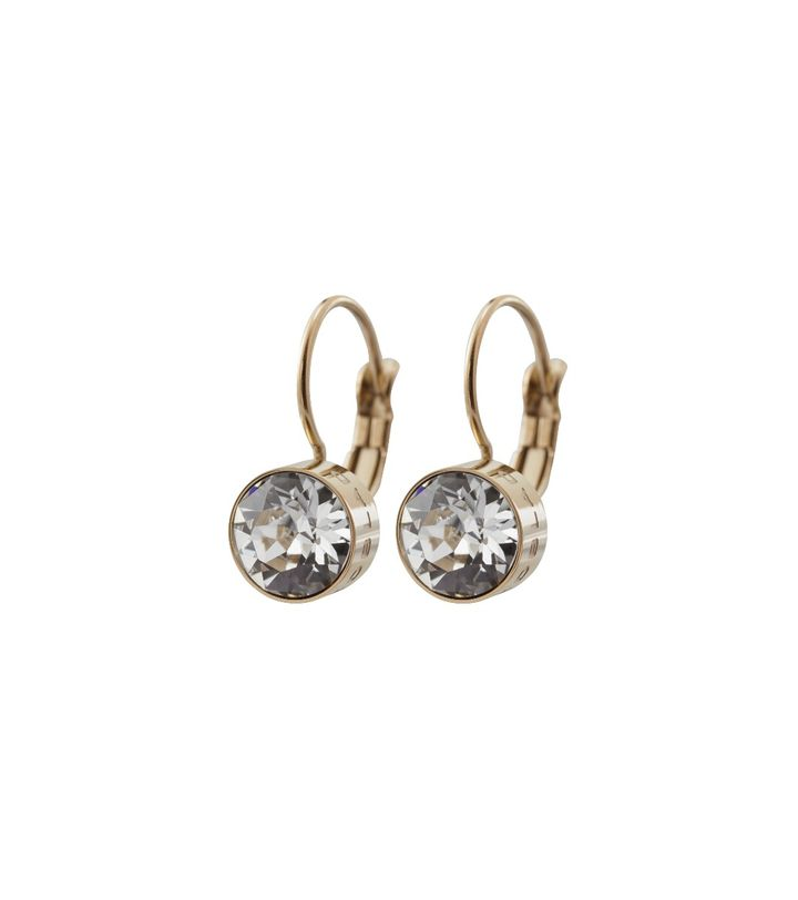 Diana Earrings Clear Crystal Gold