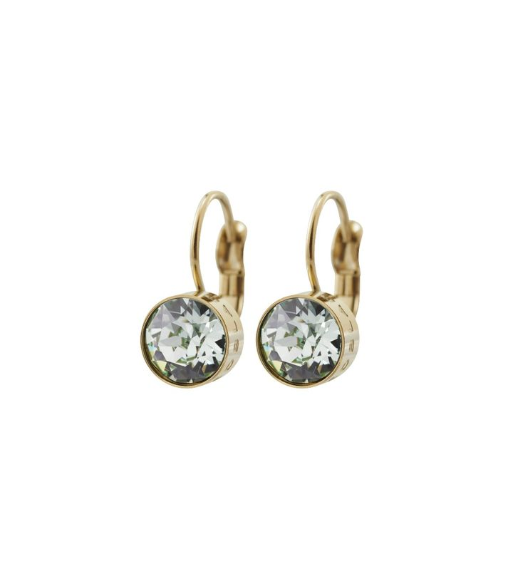 Diana Earrings Pool Blue Crystal Gold