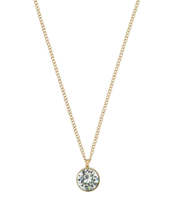 Diana Necklace Pool Blue Crystal Gold