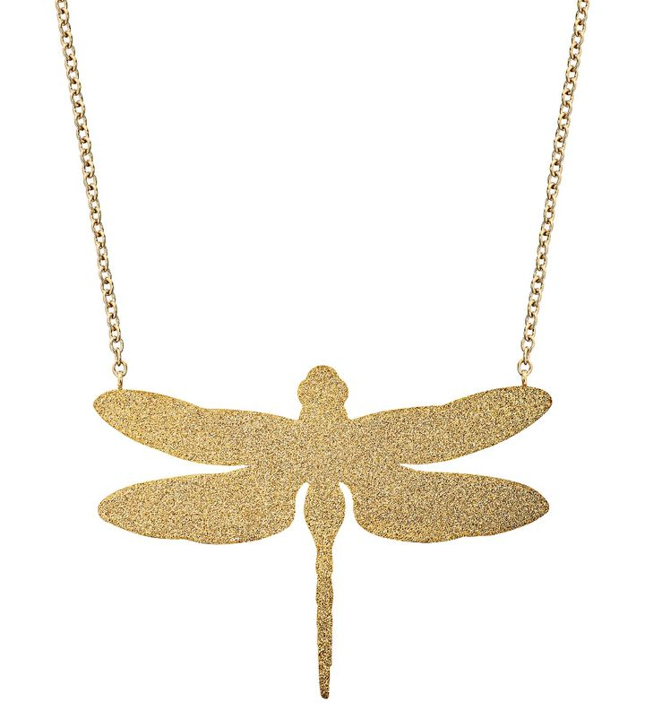 Dragonfly Necklace Large Sparkle Gold