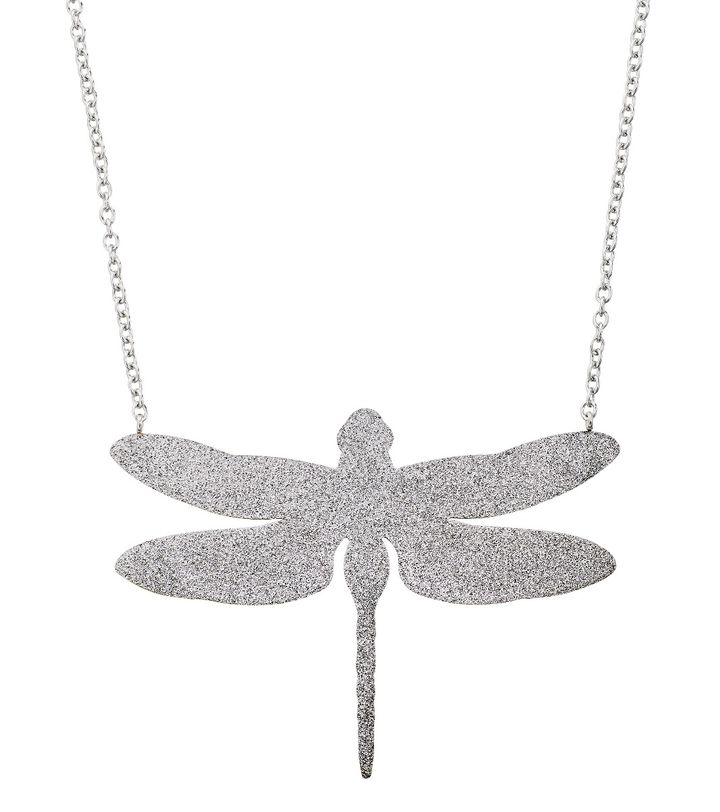 Dragonfly Necklace Large Sparkle Steel
