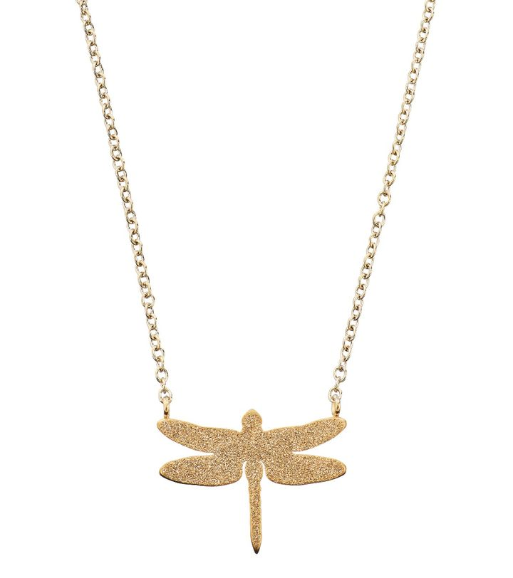 Dragonfly Necklace Sparkle Gold