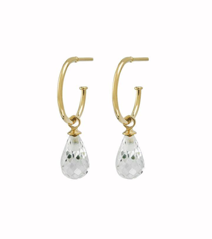 Drop Mini Earrings cz Gold