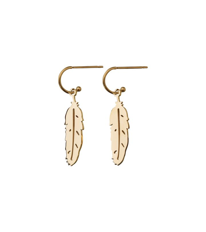 Feather Earrings Small Gold