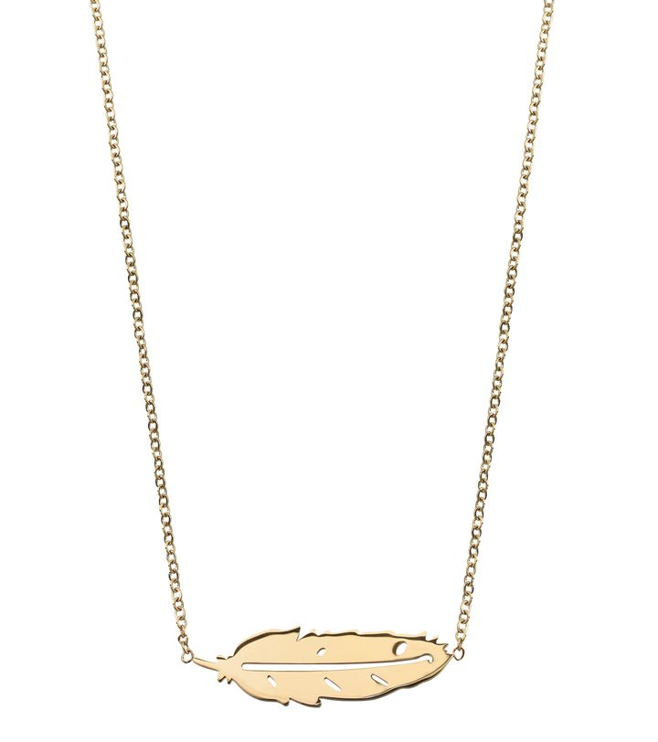 Feather Necklace Short Gold