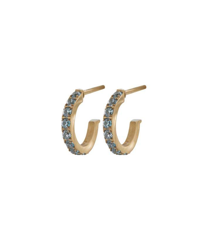 Glow Earrings Micro S Pool Blue Gold