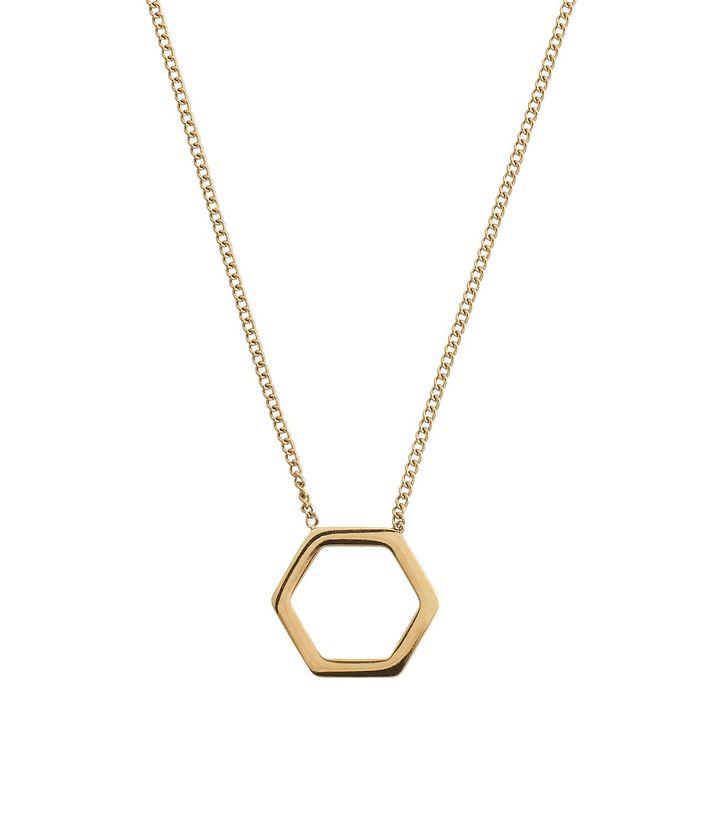 Hexagon Necklace Gold