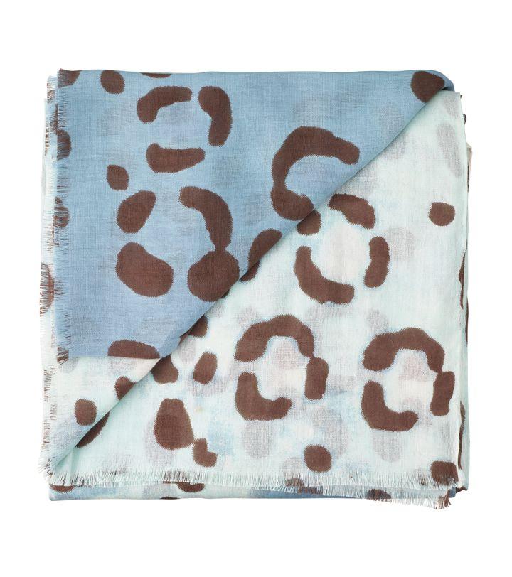 Leopard Cotton Modal Sarong Pool Blue