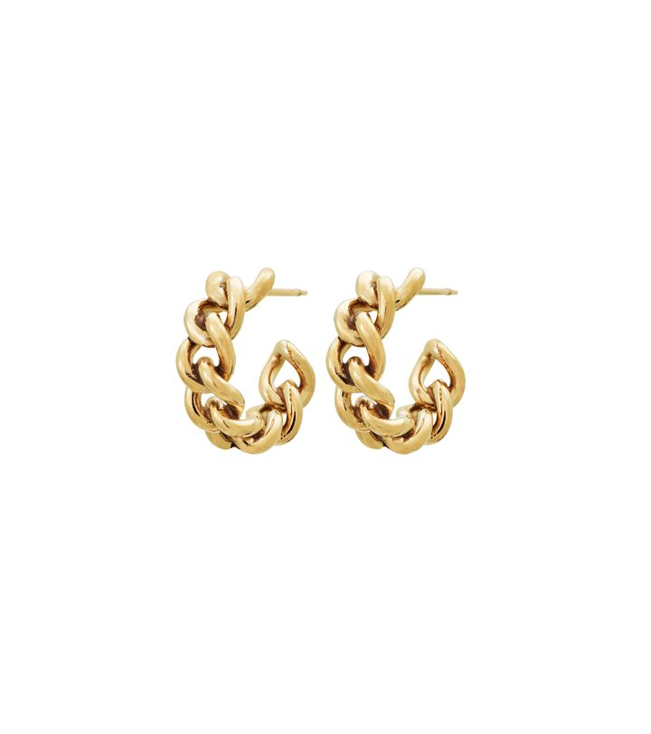 Lourdes Chain Creole Earrings Gold