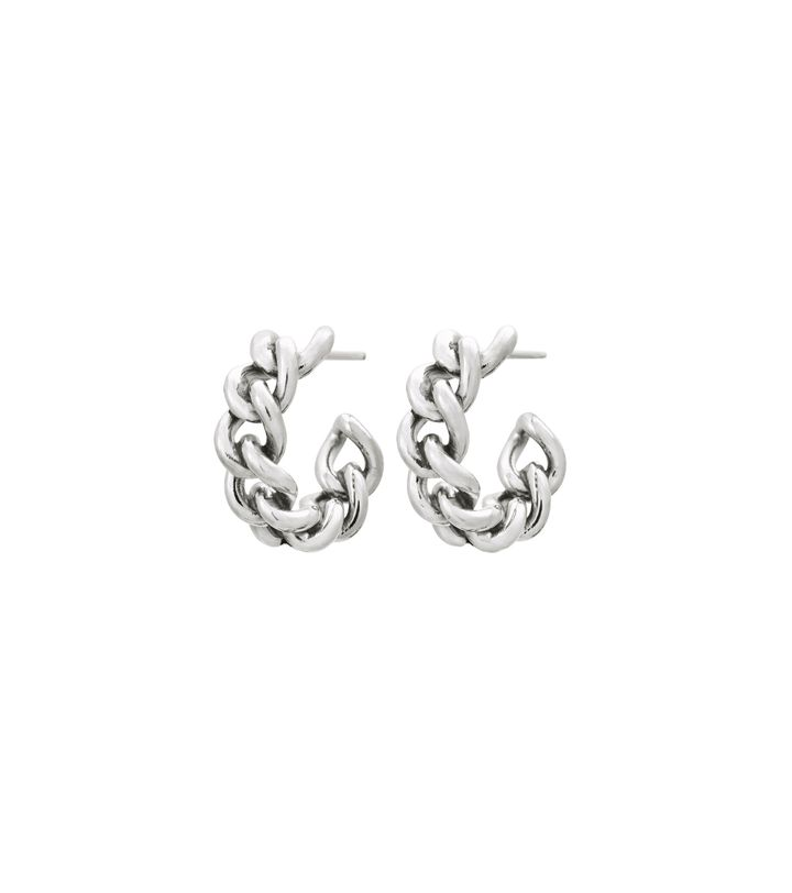 Lourdes Chain Creole Earrings Steel