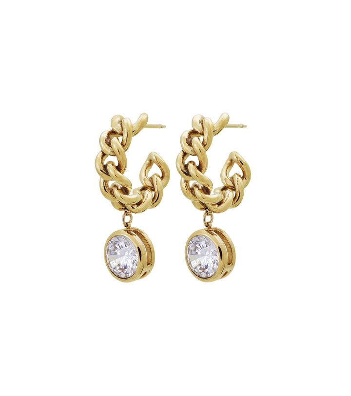 Lourdes cz Creole Earrings Gold