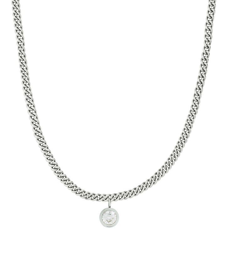 Lourdes cz Necklace Steel