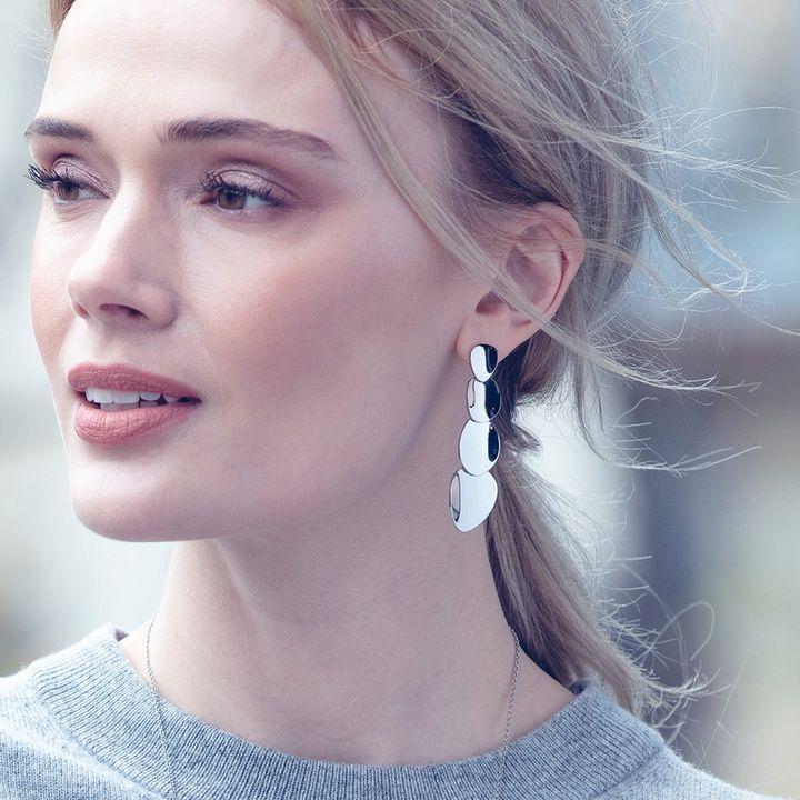 Pebble Earrings Long Steel