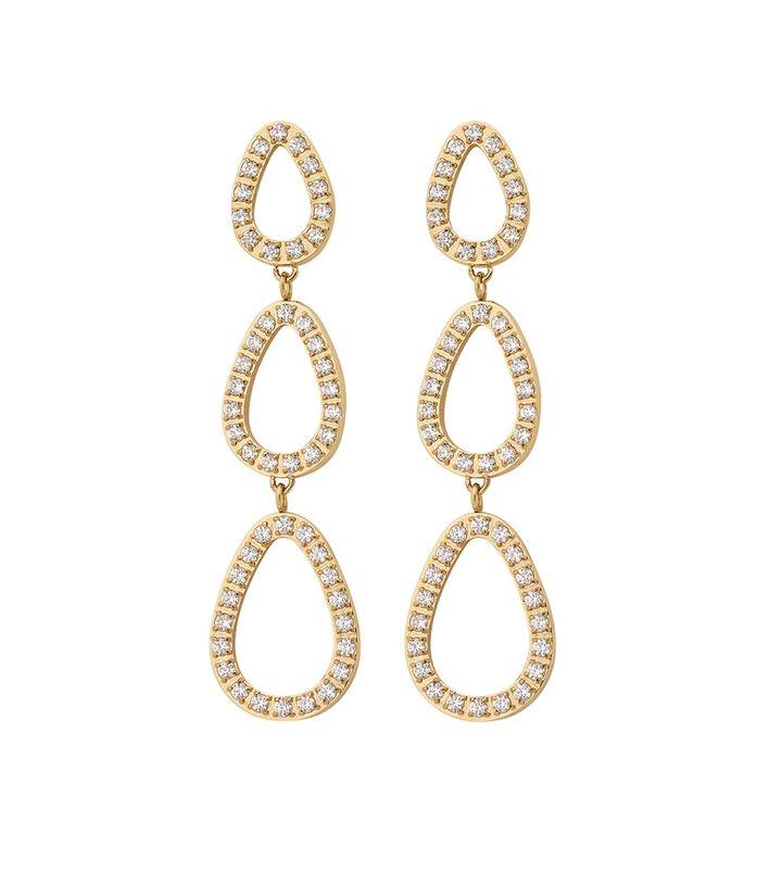 Sander Contour Earrings CZ Gold