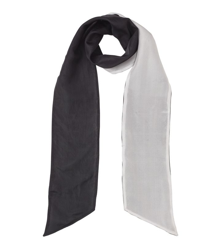 Sara Thin Silk Scarf Black/White
