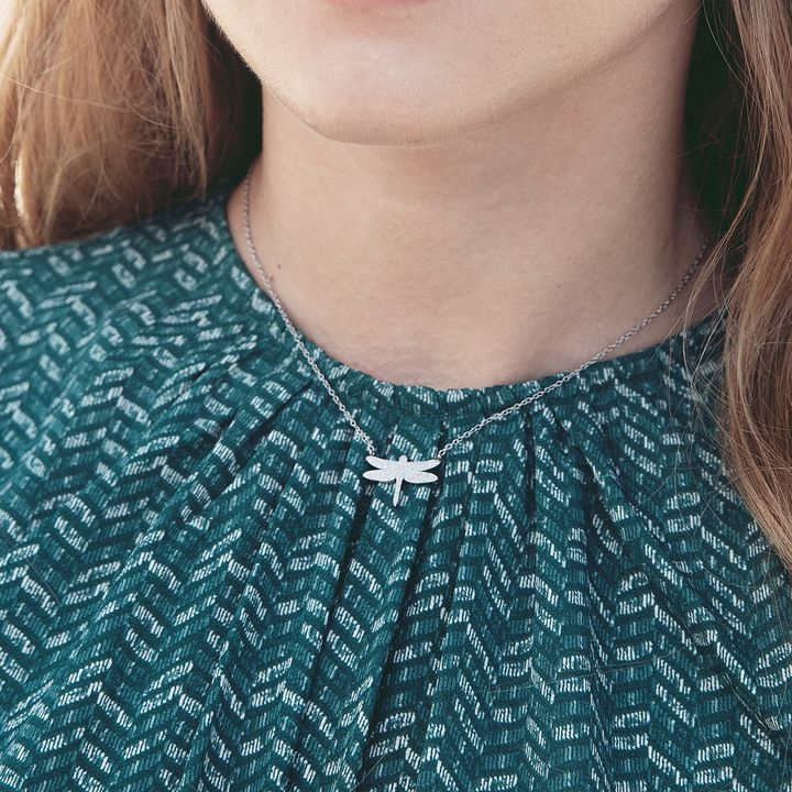 Dragonfly Necklace Sparkle Steel