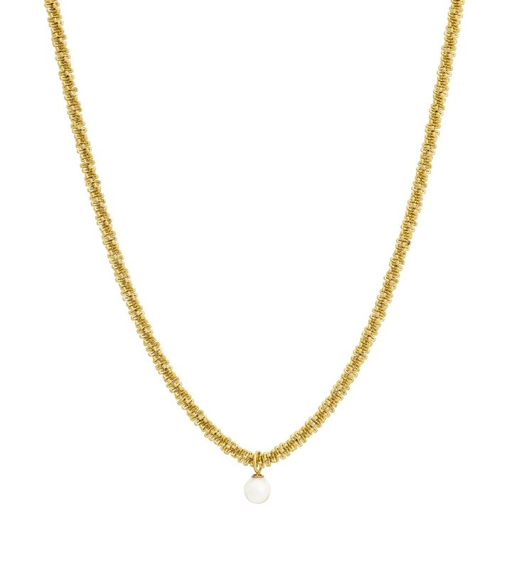 Tinsel Necklace Pearl Gold