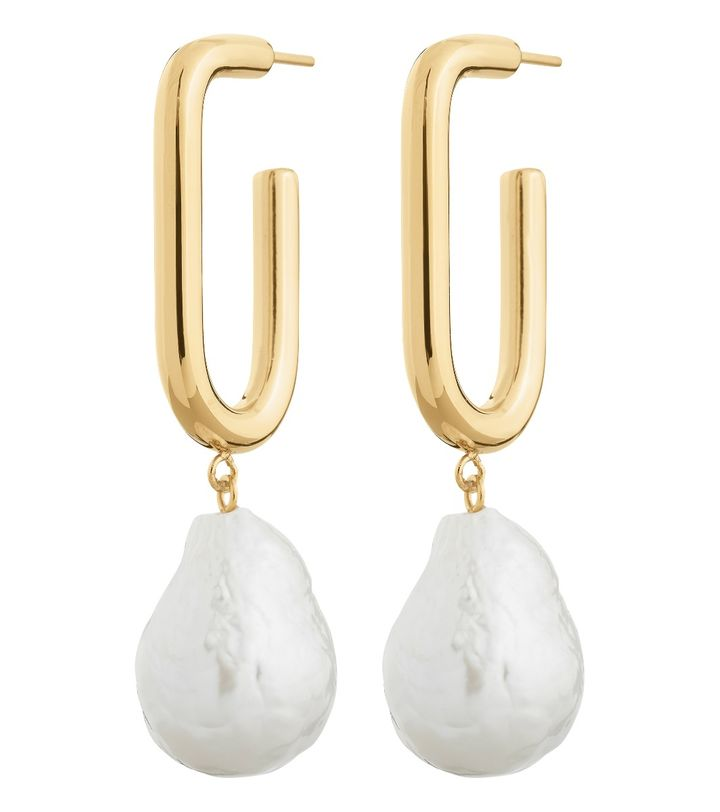 Trellis Pearl Earrings L Gold