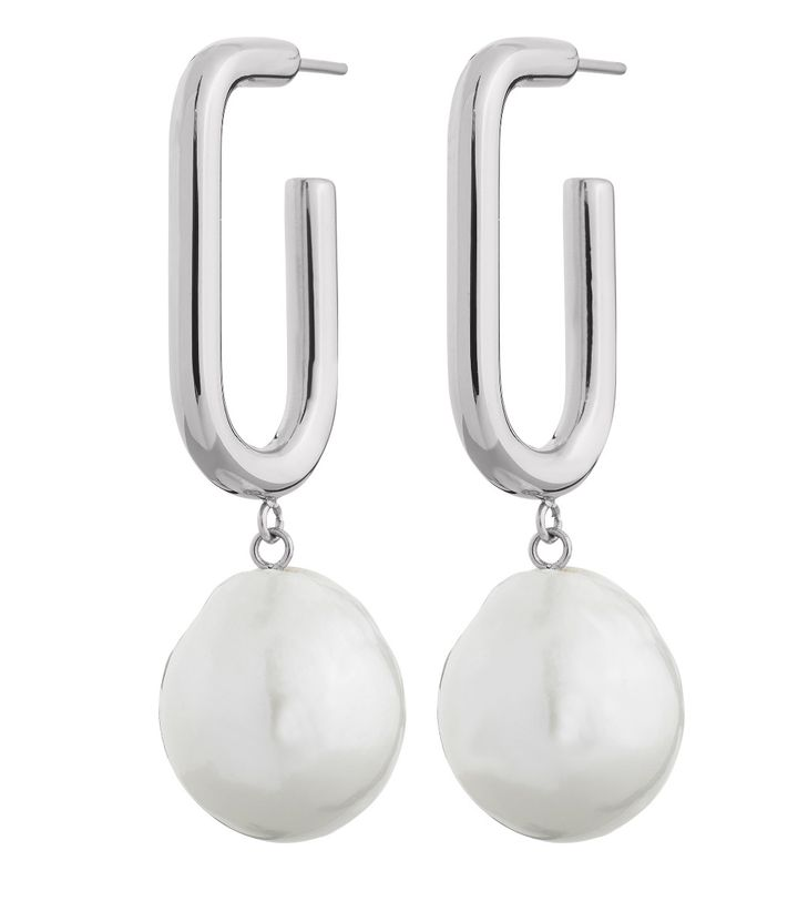 Trellis Pearl Earrings L Steel