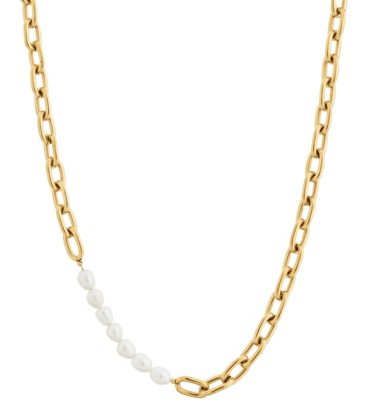 Trellis Pearl Necklace Gold