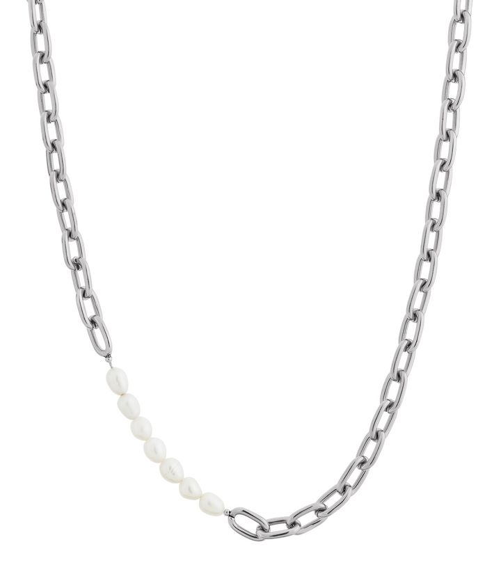 Trellis Pearl Necklace Steel