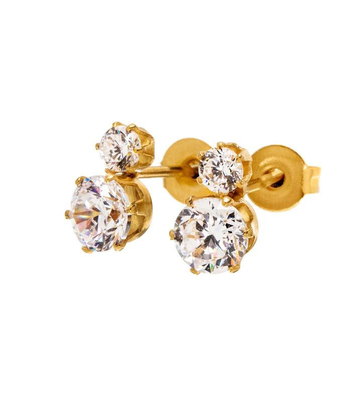 Crown Studs Double Gold