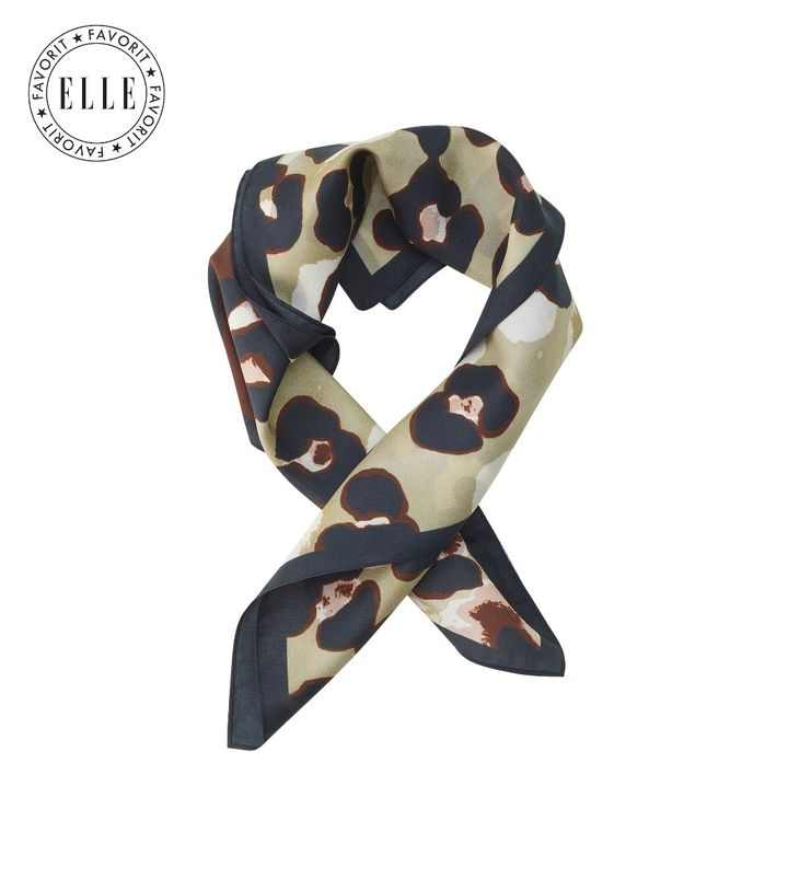 Leopard Silk Scarf Sage